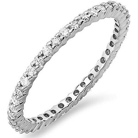 0,55quilates (quilates) 14K oro blanco Diamante redonda dama Eternidad Aniversario Anillo Apilable