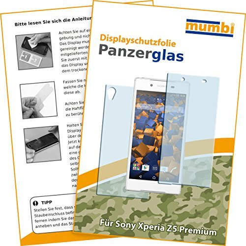 mumbi Hart Glas Folie kompatibel mit Sony Xperia Z5 Premium Panzerfolie, Schutzfolie Schutzglas (2x)
