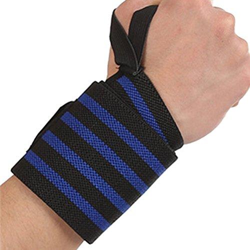 VORCOOL 57x8 cm Sport Handgelenk Wraps mit Daumenschlaufe Elastische Handgelenkstütze Hosenträger für Fitness Gewichtheben Krafttraining (Royal Blue Streifen) (Royal Hosenträger Blue)