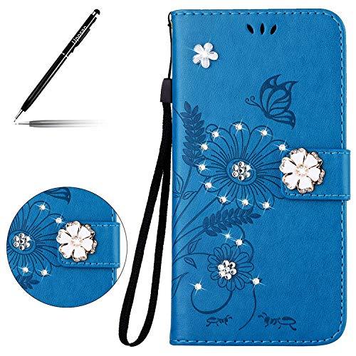 Uposao Handyhülle für Samsung Galaxy S7 Handy Tasche Schmetterling Blumen 3D Glänzend Glitzer Bling Klapphülle Ultra Dünn Flip Case Lederhülle Bookstyle Etui Ledertasche,Blau