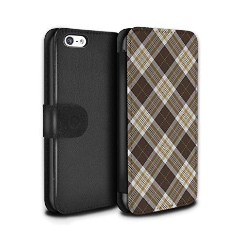 Stuff4 Coque/Etui/Housse Cuir PU Case/Cover pour Apple iPhone 5C / Pack 12pcs Design / Tartan Pique-Nique Motif Collection Brun