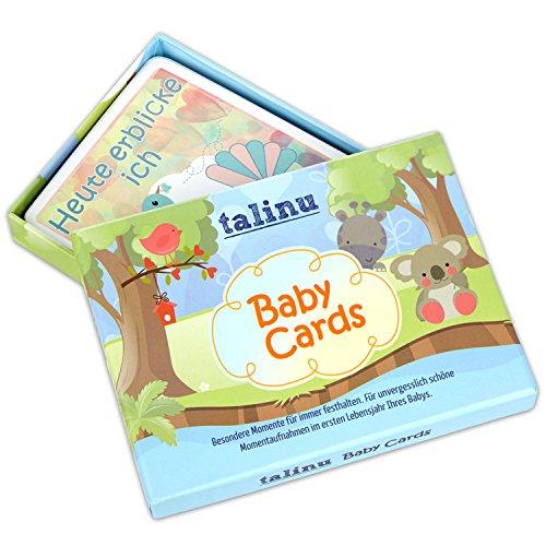 TALINU Baby Cards, 35 liebevoll gestaltete Baby Erinnerungskarten | mit 2 Jahren Zufriedenheitsgarantie | Erinnerungskarten/Baby Karten – Für unvergesslich schöne Momentaufnahmen im ersten Lebensjahr Ihres Babys