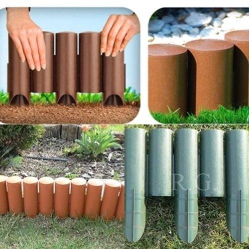 rg-vertrieb Palisade Beetumrandung Rasenkante Beeteinfassung Zaun 2,3m Grün Braun Terrakotta zur Auswahl (Braun)