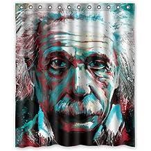 Custom diseño único Albert Einstein pintura impermeable baño tejido de poliéster cortina de ducha 60(W) x72(H)