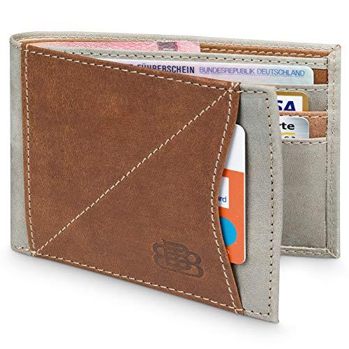Karten Portemonnaie Herren Leder für 9 Karten ohne Kleingeldfach mit RFID Schutz - Geldbörse ohne Münzfach - Geldbeutel Männer Klein - Dünn Flach - Portmonee NFC - Kartenportemonnaie Portmanaie - Flache Geldbörse