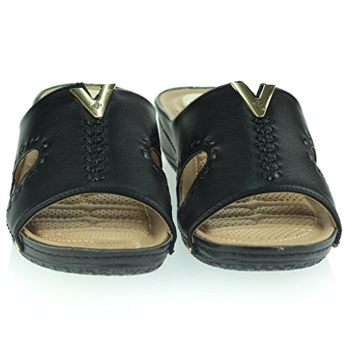 Femmes Dames Points de Pression Coussiné Respirant Doux Flexible Antidérapant Sole Massage Casual Enfiler Talon Compensé Sandales Chaussures Taille Noir