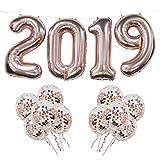 2019 Folienballons, 2019 Rose Gold Ballon Banner mit 10 Stück Rose Gold Konfetti Ballons, ideal für Abschlussfeier Party, Silvester Party, Zuhause Büro Dekoration (Rose Gold 2019)