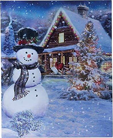 insatech LED Bild SCHNEEMANN HAUS 400x500mm und Weihnachtsbaum mit