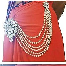 Jn Handicraft Multilayer Waist Belt/Belly Chain & Saree Pin For Women/Girls - White