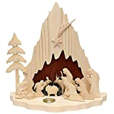 Weihnachten große Holz Krippe Heilige Familie mit Teelichthalter Handarbeit Figuren in Handflachschnitzerei gefertigt Weihnachtskrippe Weihnachtsdekoration Tischdeko für Weihnachten Weihnachtslicht