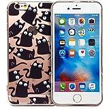 Rétro Masque Yeux Cartoon Coque de protection d'écran pour Apple iPhone, plastique, Black Cats, iPhone 6+/6s+