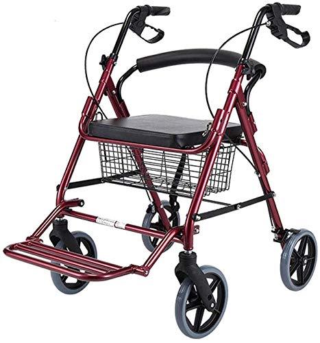 CHAIR Rollstuhl, medizinischer Reha-Stuhl für Senioren, alte Menschen, Rollator-Gehhilfe mit Sitz, Rollator aus Aluminiumlegierung mit 8-Zoll-Rädern, Stützt bis zu 350 Pfund, medizinischer Gehhilfe,