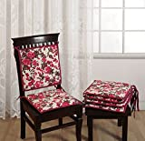 """Swayam Printed 200 TC Cotton 4 Piece Chair Pads with Loop - 16""""x16"""", Red"""