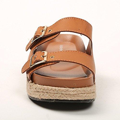 Ideal Shoes–Barfuß mit Doppelzimmer Gurtbändern und Sohle aus Jute geflochten Jalane Braun - Camel
