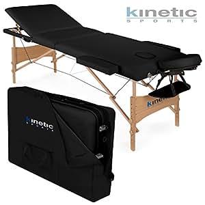 kinetic sports table lit banc de massage mb01 cosmetique pliante 3 zones noir coffre inclu. Black Bedroom Furniture Sets. Home Design Ideas