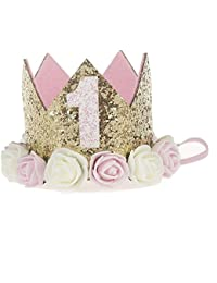 SODIAL Corona de flores Diadema para los recien nacidos Corona de cumpleanos de oro de Numero de 1 ano de Estilo de princesa Sombrero de cumpleanos Accesorio para el cabello de bebe