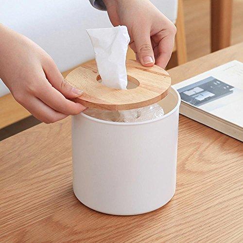 HUAZHUANGXIANGBAO Kreative einfache Eiche deckt den Tambour aus Kunststoff Haushalt japanischen Restaurant Toilettenpapier-Box runder Tisch, Circles