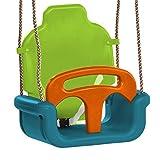 WICKEY Babyschaukel 3 in 1 Kleinkindschaukel Sicherheits-Babysitz Schaukelsitz mit Kipp-Schutz, verstellbar, türkis-apfel-orange