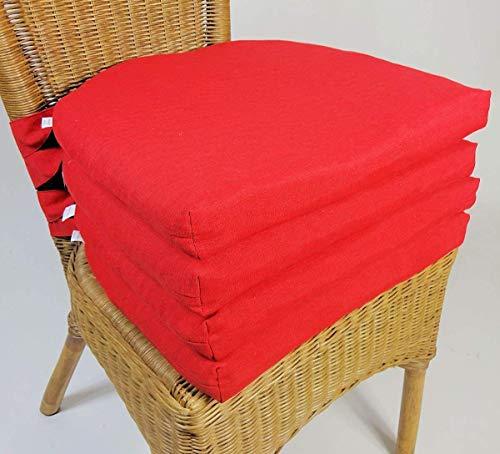 Rattani Set 4 x Stuhlkissen/Sitzkissen Marina halbrund mit Schleife 42 x 45 cm Dicke 5 cm, Fb. rot, Polyester