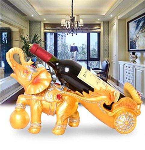 Continental moderne résine stockage Golden Elephant tirant voiture Wine Rack 40 * 14 * 23cm ménage 1 bouteilles 750ML vin