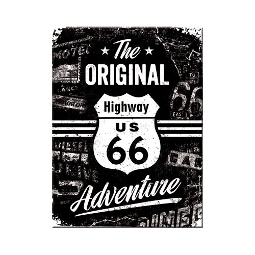 Nostalgic-Art 14331 - Highway  66 The Original Adventure | Retro Magnet | Kühlschrank-Magnet | Vintage | 6x8 cm