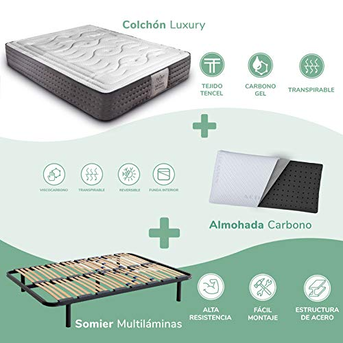 Dreaming Kamahaus Pack Somier Multiláminas + Colchón Luxury Visco Tencel + Almohada Carbono| 135 x...
