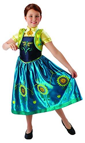 Princesas Disney - Disfraz Anna Fever Deluxe, para niñas, talla M, color azul y amarillo (Rubie's 610904-M)