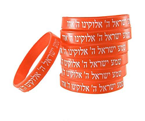 7 ORANGE Armbänder SCHEMA ISRAEL jüdische hebräische Kabbala Gummi-Armbänder Anzahl