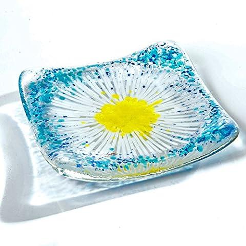 Caroline Mouran in my studio 'The Glass Garden' Hand-made by me Petite coupelle en verre pour bougie ou plat Bleu ciel