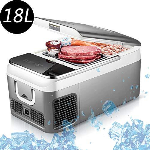 GENYU 12V-Auto-Kühlschrank, Mini-Kompressor-Kühlschrank, -20 ° C bis 10 ° C Temperatureinstellung, Touch-Display, Camping kühlte Lebensmittel zu Trinken,18L