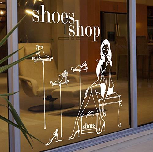 Xbwy Mode Shopping Mädchen Aufkleber Kleidung Läden Schuhe Handtaschen Shop Fensterglas Schuhwand Stickersv