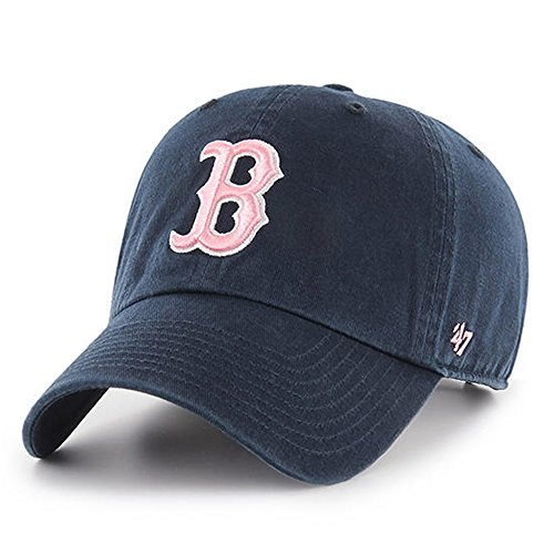 47 Brand Damen Boston Red Sox Clean Up Dad Cap Strapback Navy/Baby Pink