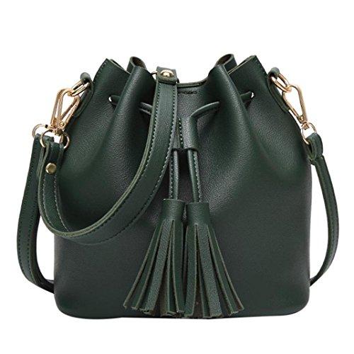 Umhängetasche Damen, Sunday Mode Frauen Leder Handtasche Crossbody Schulter Messenger Quasten Eimer Tasche (20cm(L)*19cm(H)*11cm(W), Schwarz) Grün