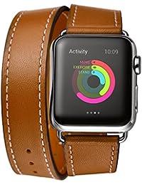 Apple Watch Band, Sanday diseño de Tour doble correa de piel auténtica muñeca banda cierre de metal de repuesto de 38mm/42mm para Apple Watch iWatch Eduction y deporte