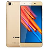 HAWEEL H1 Pro, 5.0 inch 4G FDD LTE Android 6.0 Smartphones with 1GB/8GB + 5MP Camera WIFI Bluetooth 1.2GHz Quad Core Dual SIM Dual Camera with USB Cable(Gold)
