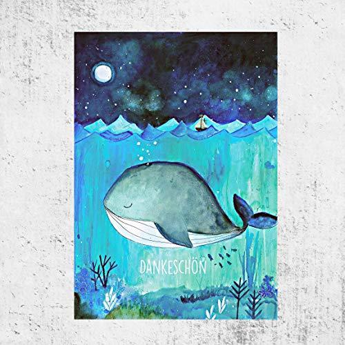"Tiny Tami ★Aquarell Wal Postkarte\""Dankeschön\"" ★Handmade - Dankekarte - Ozean Grußkarte- Geschenkidee"