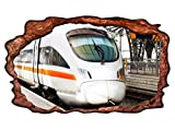3D Wandtattoo Zug ICE Eisenbahn Fahrzeug Bild selbstklebend Wandbild sticker Wohnzimmer Wand Aufkleber 11H1341, Wandbild Größe F:ca. 162cmx97cm
