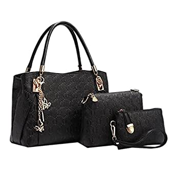 Di Grazia Women's Black 3In1 Combo Of Shoulder Bag , Satchel & Handbag ( Black ,Black-3In1-Combo-Bag)