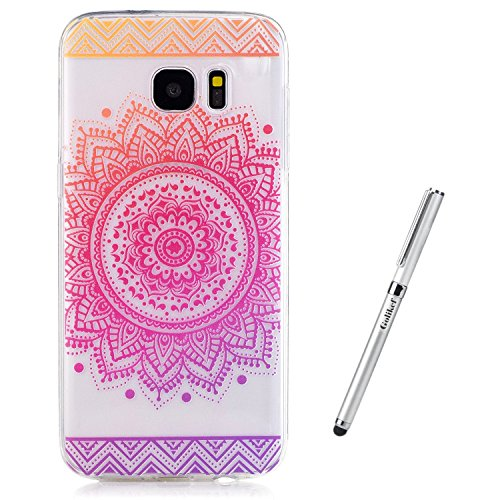 Galaxy S7 Hülle [mit gratis Touch Pen], golikeif Ultra Thin weiche TPU Fall, bunt, Butterfly Flower Rose Muster Design Weich Silikon Gummi Bumper Case, Crystal Clear Soft Floral Silikon Back Cover für Samsung Galaxy S7 (G9300) Telefon Cherry Blossom