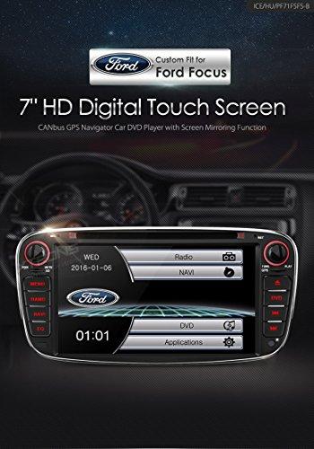 XTRONS® 7'HD pantalla táctil estéreo de coche reproductor de DVD con navegador GPS Bluetooth RDS Radio pantalla Mirroring función para Ford Focus