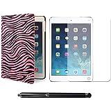 VG Zebra Print Mary Smart Cover Portfolio KickStand Smart Case For Apple iPad Air (Pink) + Matte Screen + Stylus