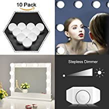 Kit Luci per Specchio Stile Hollywood per Trucco Specchio Cosmetico con Illuminazione e Alimentazione, 10 lampadine a LED, Specchio non Incluso