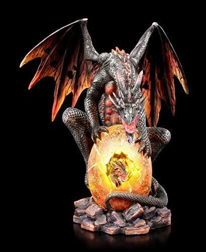 Fantasy Lava Feuer-Drachen Figur bewacht Seine Brut | Fantastische Kreatur und Gothic Dekofigur, handbemalt