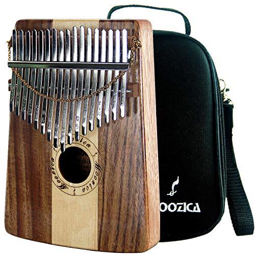 Moozica Kalimba 17 Schlüssel Daumen Klavier, Koa & Fichte Ton Holz Daumen Piano Marimba mit Tragetasche Musik Buch Musical Geschenk