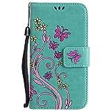 Samsung Galaxy S5 Mini Hülle, Chreey Prägung [Glitzer Schmetterling] Leder Wallet Tasche Stoßfest Flip Case Hochwertig Handy Etui Elegant Cover [Grün] + Stand Kartenfächer