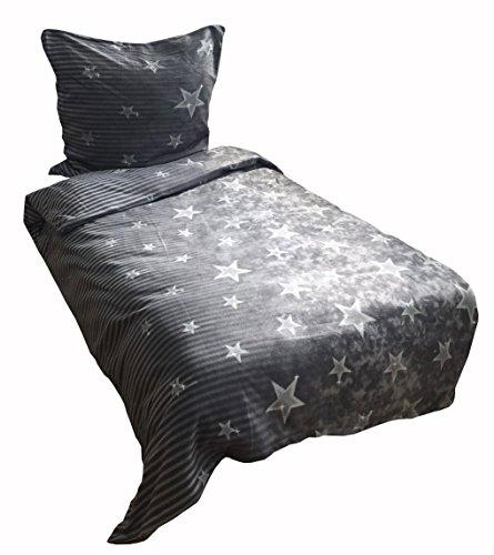Warme Winter Microfaser Flausch Fleece Bettwäsche Galaxy Grau mit Reißverschluss 2 tlg. Set 1x155x220 + 1x80x80 cm Mikrofaser Flausch Bettwäsche