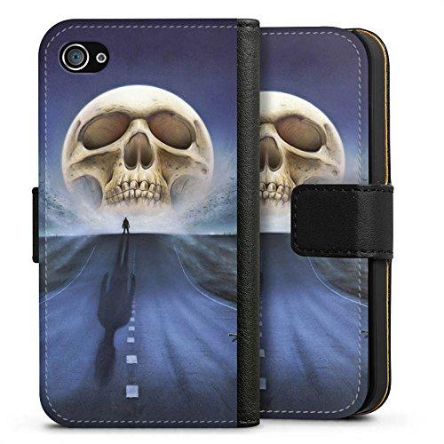 Apple iPhone X Silikon Hülle Case Schutzhülle Straße Totenkopf Skull Sideflip Tasche schwarz