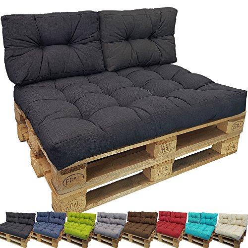 PROHEIM Palettenkissen Lounge kleines Rückenkissen 60x40 cm Anthrazit - Palettensofa Indoor/Outdoor schmutz- und Wasserabweisende Palettenauflage Palettenpolster für Europaletten