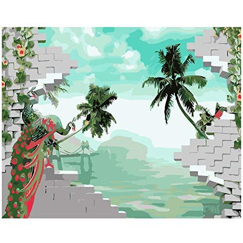 ahlen Pfau Abstrakte Malerei Hochwertige Wohnkultur Farbe Zeichnung Bild Durch Zahlen Leinwand Dekoration Wohnzimmer Wandkunst ()