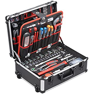 Meister Werkzeugtrolley 156-teilig - Werkzeug-Set - Mit Rollen - Teleskophandgriff/Profi Werkzeugkoffer befüllt/Werkzeugkiste fahrbar auf Rollen/Werkzeugbox komplett mit Werkzeug / 8971440